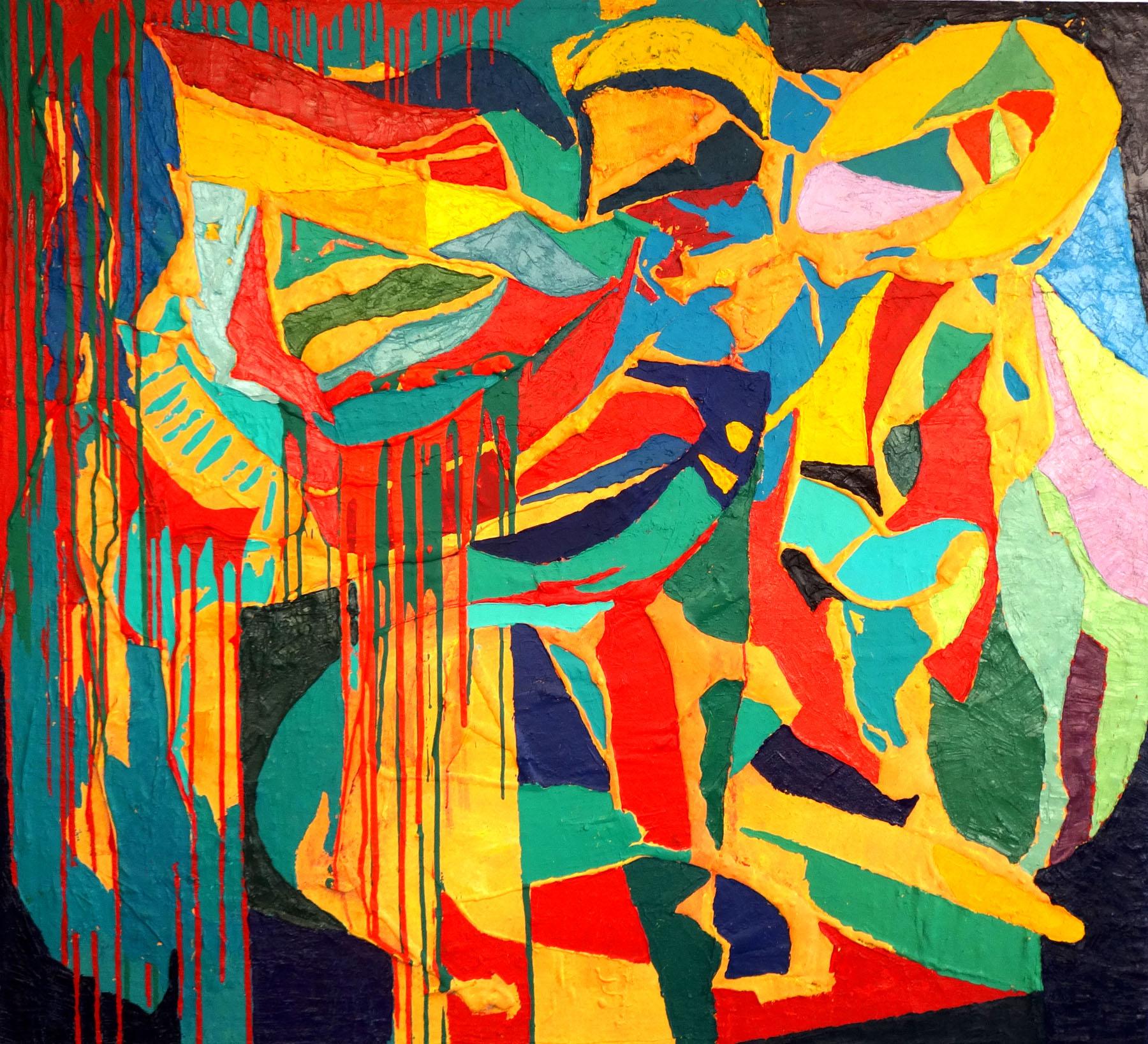 2014 Bull and Matador, 150_165 cm oil, acrylic, canvas, located in estonia