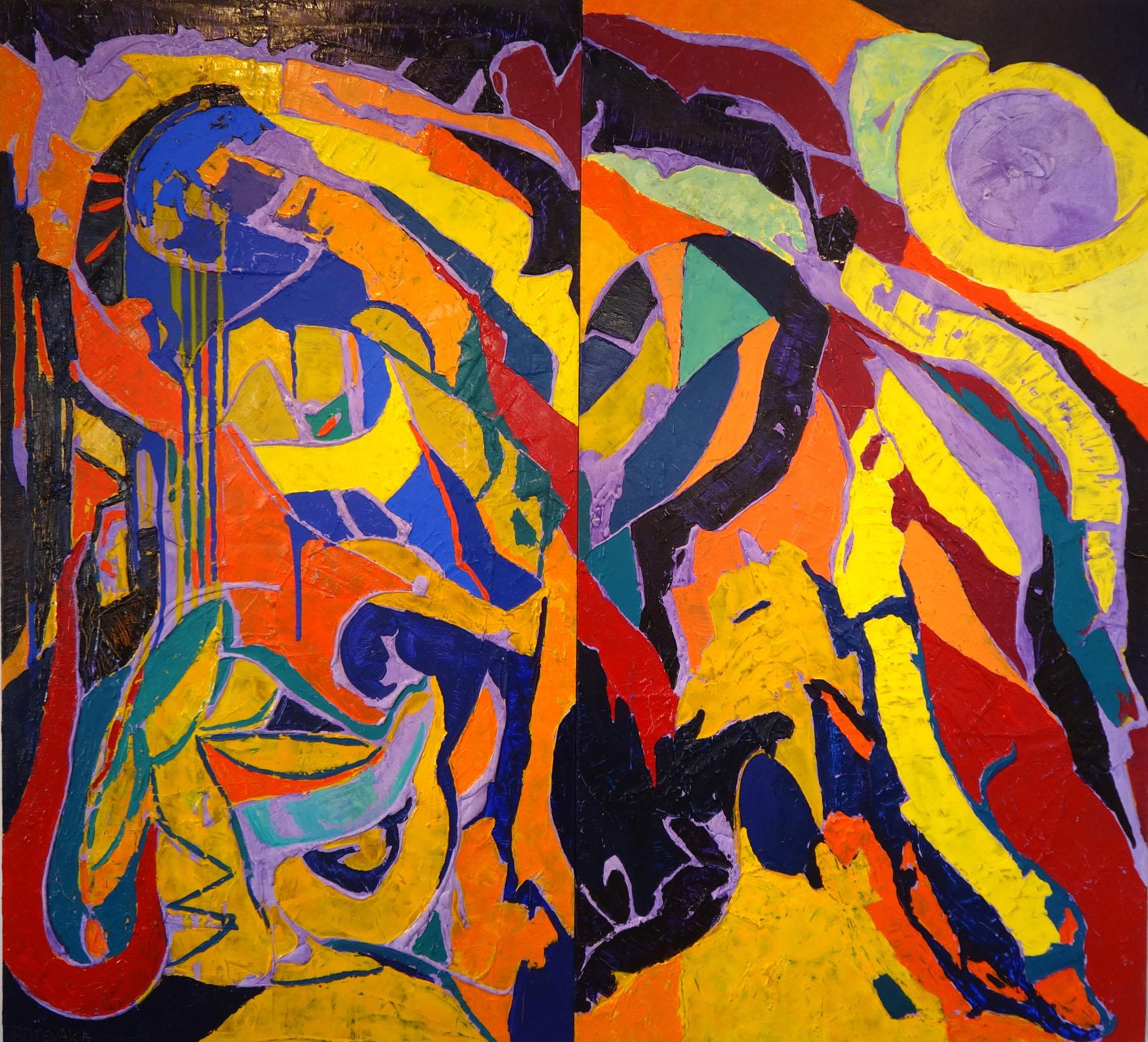 2015 and the Sun Fell into the Sea 195_210 cm diptych, oil, acrylic canvas. lokated in Estonia